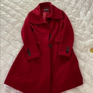 Express Red Peacoat XS